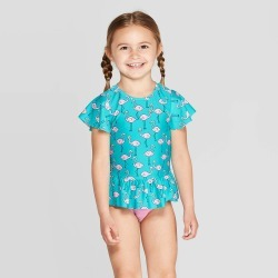 petiteToddler Girls' Short Sleeve Flamingo Rash Guard Set - Cat & Jack Aqua 2T, Girl's, Blue/Pink found on Bargain Bro India from target for $4.90