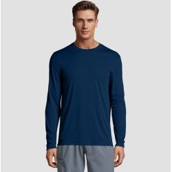 Hanes Men's Long Sleeve CoolDRI Performance T-Shirt -Navy 2XL, Blue found on Bargain Bro Philippines from target for $7.59