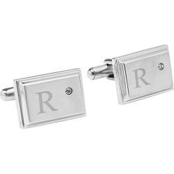 Monogram Groomsmen Gift Zircon Jewel Stainless Steel Cufflink - R, Men's, Silver found on Bargain Bro India from target for $30.49