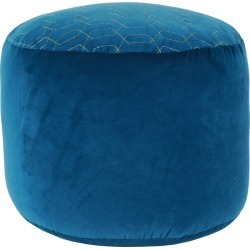 Natalie Velvet Pouf Blue - Décor Therapy