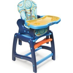Badger Basket Baby High Chair with Playtable Conversion, Blue & Orange