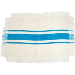 Striped Design Jute Placemats Turquoise (Set of 4)