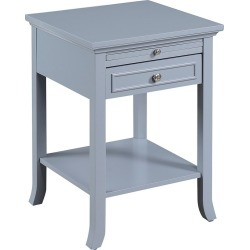 American Heritage Logan with Drawer and Slide End Table Gray - Johar Furniture