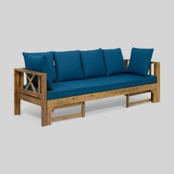 Long Beach Acacia Wood Extendable Patio Daybed Sofa Teak - Christopher Knight Home