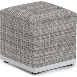 Argento Ottoman Pouf with Resin Wicker and Powder-Coated Aluminum Frame - Oxford Garden