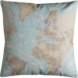 Aqua/Natural Printed World Map Throw Pillow - (22x22) - Rizzy Home, Blue