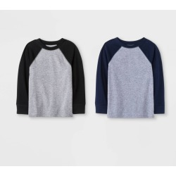 Toddler Boys' 2pk Long Sleeve T-Shirts - Cat & Jack Navy/Black 12M, Boy's, Blue found on Bargain Bro Philippines from target for $10.50