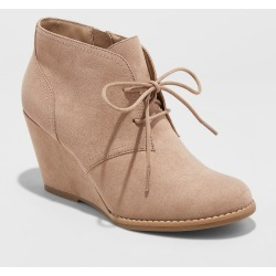 Women's Bessie Microsuede Wide Width Wedge Fashion Bootie - Universal Thread Taupe 10W, Size: 10 Wide, Brown found on Bargain Bro Philippines from target for $32.99