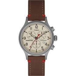 Men's Timex Expedition Scout Chronograph Watch with Leather Strap - Silver/Brown TW4B04300JT, Size: Small found on Bargain Bro India from target for $64.99