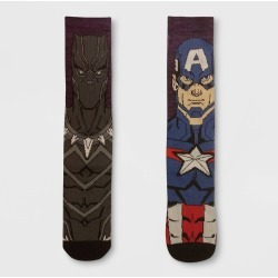 Men's Marvel Avengers 2pk Mismatched Athletic Crew Socks - Purple 6-12, Size: Small found on Bargain Bro India from target for $9.99
