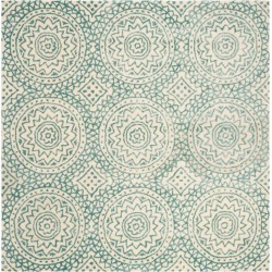 Ivory/Blue Floral Tufted Square Area Rug 5'X5' - Safavieh, White found on Bargain Bro India from target for $203.99
