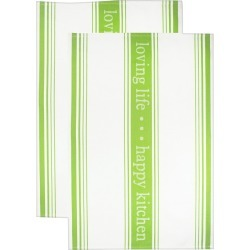 Jacquard Towel Loving Lifehappy Kitchen Edamame - Mu Kitchen, Green