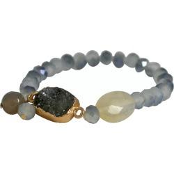 Zirconite Semi-Precious Roundel Beads Stretch Bracelet with Genuine Druzy Stone - Gray, Women's found on Bargain Bro India from target for $19.99