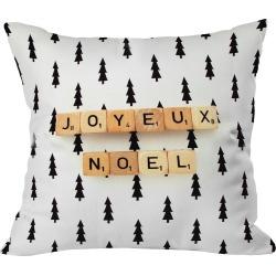 "20""x20"" Joyeux Noel Throw Pillow Black - Deny Designs, Brown Black"