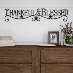 """Thankful And Blessed"" Wall Metal Cutout Sign Natures Brown - Lavish Home"