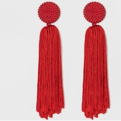 SUGARFIX by BaubleBar Beaded Studs Tassel Drop Earrings - Red, Women's, Size: Small found on Bargain Bro India from target for $12.99
