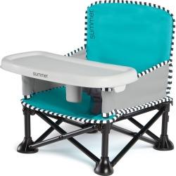 Summer Infant Pop 'n Sit Sweet Life Edition Booster Travel Booster and Chair - Aqua Sugar, Blue Sugar