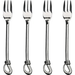 Gourmet Settings Twist 4pc Cocktail Forks, Silver