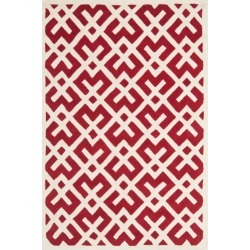 Red/Ivory Geometric Tufted Accent Rug 4'X6' - Safavieh