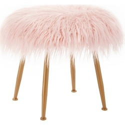 Arlo Faux Fur Stool Pink - Linon found on Bargain Bro India from target for $84.99