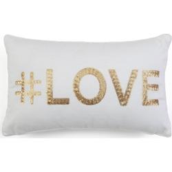 Hashtag Love Sequin Block Letter Pillow White - Décor Therapy