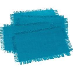 Fringed Jute Placemats Turquoise (Set of 4)
