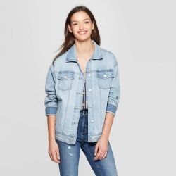 90fa2487358 Women s Long Sleeve Denim Trucker Jeans Jacket - Universal Thread Light Blue  S found on MODAPINS