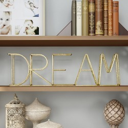 """Dream"" Metal Cutout Free Standing Table Top Sign Gold - Lavish Home"