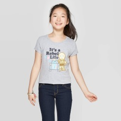 Girls' Star Wars Cap Sleeve T-Shirt - Heather Gray M found on Bargain Bro India from target for $8.99