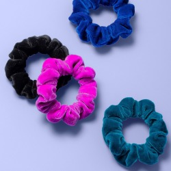 Girls' 4pk Velvet Scrunchies - More Than Magic, Multicolored