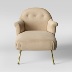 Comfrey Chaise Lounge with Brass Legs Ivory Velvet - Opalhouse found on Bargain Bro Philippines from target for $541.44