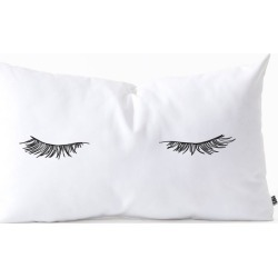 The Colour Study Closed Eyes Lashes Oblong Lumbar Throw Pillow Black - Deny Designs