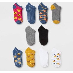 Women's Snack Food 10pk Low Cut Socks - Xhilaration Gray/Blue/Yellow One Size, MultiColored found on Bargain Bro India from target for $9.00