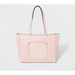 Zip Top Tote Handbag - A New Day Blush, Women's, Size: Large