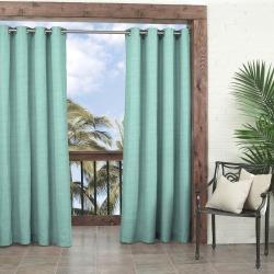 "Key Largo Indoor/Outdoor Curtain Panels Aqua 95"" - Parasol, Size: 52x95, Blue"