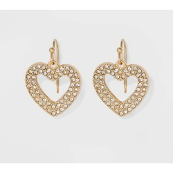 SUGARFIX by BaubleBar Crystal Heart Earrings - Clear, Women's