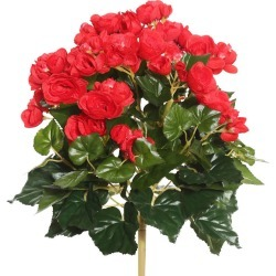 "Artificial Begonia Stems (15.25"") - Red - Vickerman"