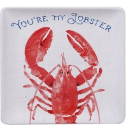 """12.5"""" Earthenware Nautical Life Lobster Square Platter Red - Certified International, White Red"""