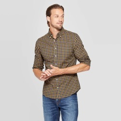 Men's Performance Slim Fit Long Sleeve Button-Down Shirt - Goodfellow & Co Zesty Gold XL, Men's found on Bargain Bro India from target for $32.99