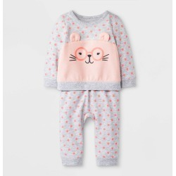 Baby Girls' 2pc Polka Dots Critter Pullover Top and Jogger Pants Set - Cat & Jack Gray 3-6M, Girl's found on Bargain Bro Philippines from target for $11.99