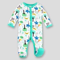Lamaze Baby Boys Organic Cotton Sleep N Play Safari Footed Sleepers Green Newborn Boy s