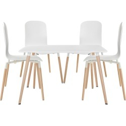 Stack Dining Chairs and Table Wood Set of 5 White - Modway