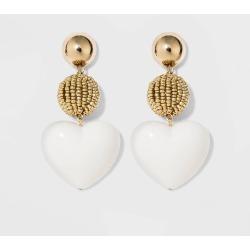 SUGARFIX by BaubleBar Mixed Media Heart Earrings - Ivory, Women's