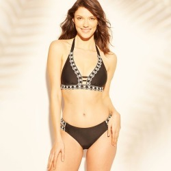 Women's Crochet Trim Bikini Top - Kona Sol Black XL