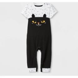petiteBaby Girls' Halloween Cat Short Sleeve Romper - Cat & Jack Black/White 3-6M, Girl's found on Bargain Bro Philippines from target for $12.99