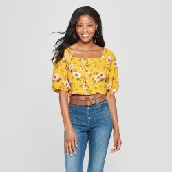 3388ef81039 Women s Floral Print Button Front Square Neck 3 4 Sleeve Cropped Top -  Xhilaration Gold