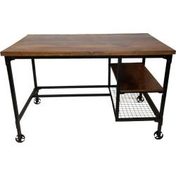 Industrial Design Wooden Desk Coffee Brown - Benzara