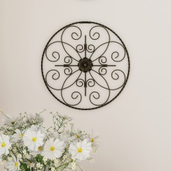 "14"" Round Medallion Metal Wall Art Almost Black - Lavish Home"