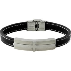 Men's Stainless Steel and Leather ID Bracelet, Size: Small, Silver/Silver found on Bargain Bro India from target for $24.99