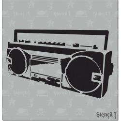 """Stencil1 Boom Box - Stencil 5.75"""" x 6"""", White"""
